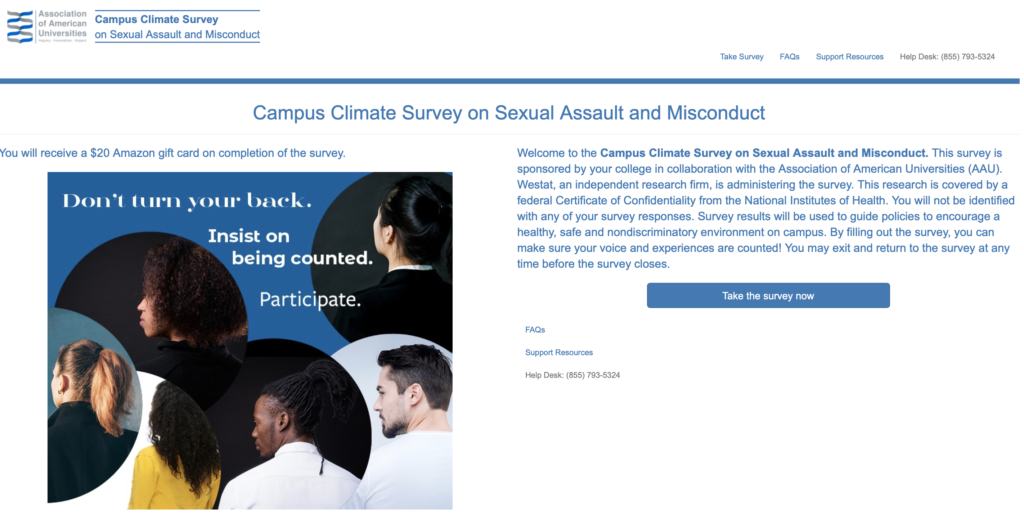 2019 AAU Campus Climate Survey screenshot